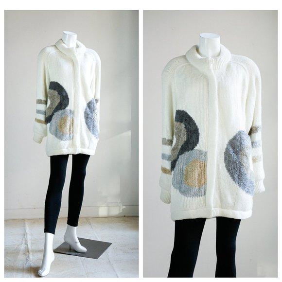 Vintage Geometric Print Earth Tone Sweater Coat